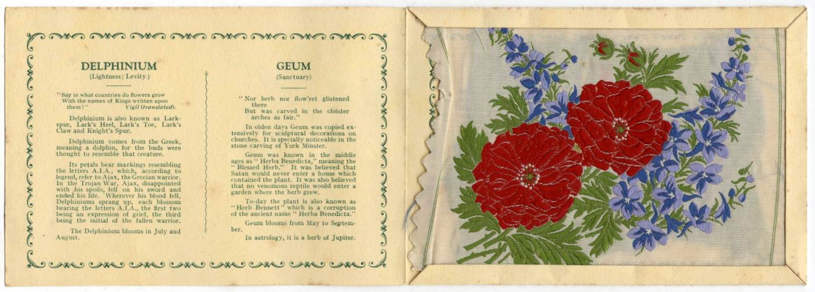 Vintage Kensitas Flowers Postcard Silk Delphinium Geum 1933 Series 1